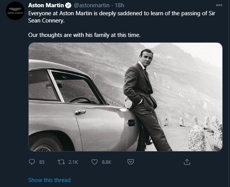 Ο Σόν Κόνερι οδηγούσε μόνο ως James Bond Aston Martin DB5 1